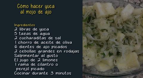 Cómo hacer yuca al mojo de ajo