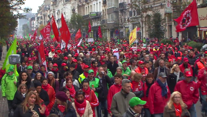 Video: Belgen betogen tegen regeringsplannen