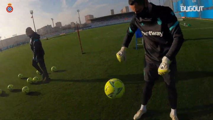 Espanyol training from a goalkeeper's point of view
