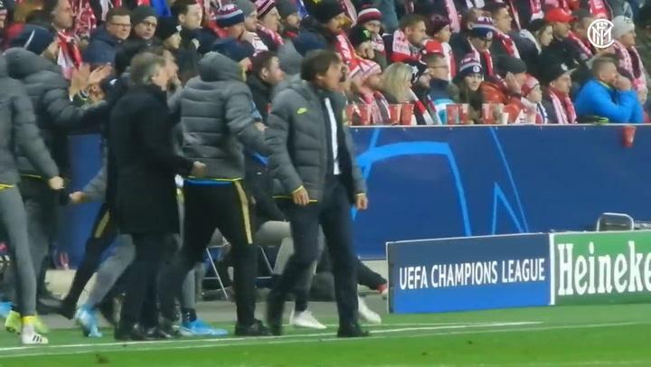 Así vivió Conte los goles de Lautaro y Lukaku, ante el Slavia de Praga