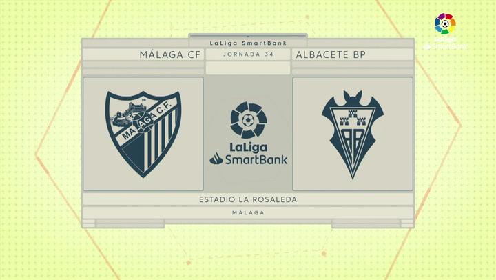 LaLiga SmartBank (J34): Resumen y goles del Málaga 2-0 Albacete
