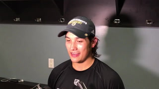 Tyler Wong talks about his hat trick in Sunday's Golden Knights win