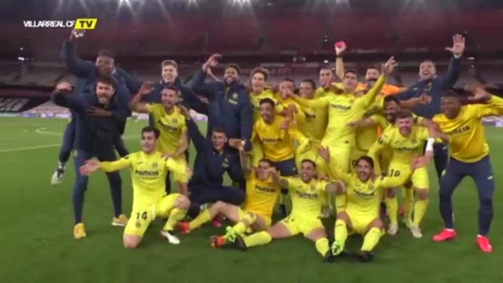 Villarreal CF celebra su clasificación a la final de la Europa League
