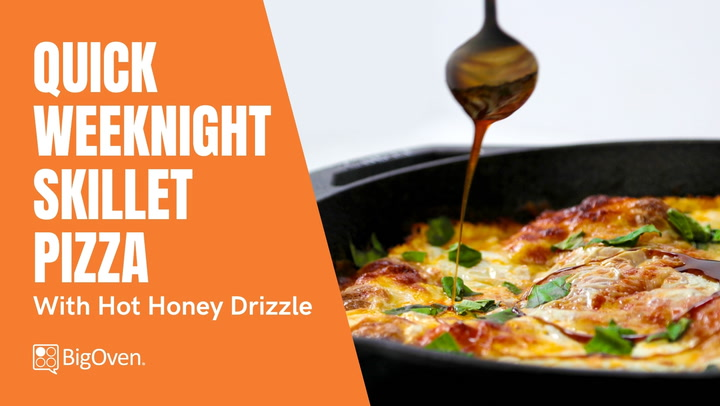 Quick Skillet Pizza with Hot Honey Drizzle