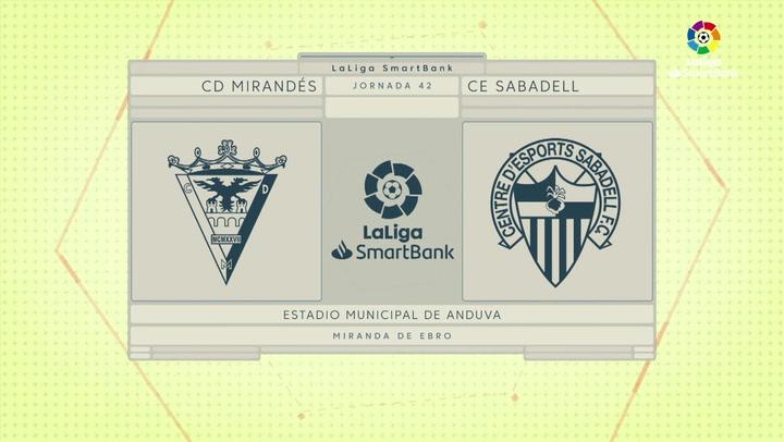 LaLiga SmartBank (J42): Resumen y goles del Mirandés 0-2 Sabadell