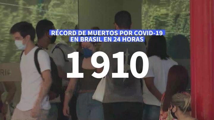 Nuevo récord de muertos por COVID-19 en Brasil  1.910 en 24 horas