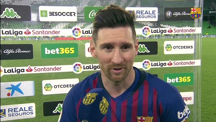 """Messi: """"Agradezco los aplausos a la afición del Betis; nunca me pasó en un campo rival"""""""