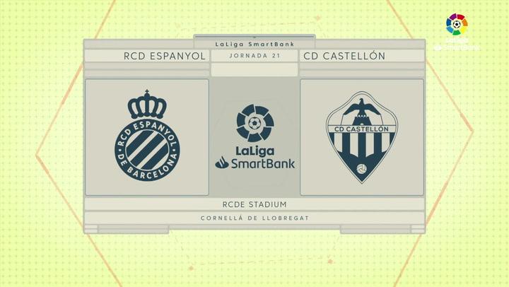 LaLiga SmartBank (J21): Resumen y goles del Espanyol 2-0 Castellón