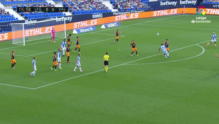 Gol de Rubén Pérez (1-0) en el Leganés 1-0 Valencia