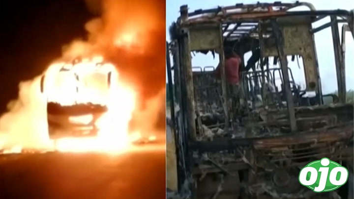 Incendian bus lleno de pasajeros tras asaltarlos a mano armada en plena carretera