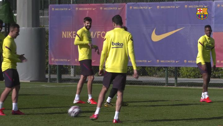 El entrenamiento del Barça de recuperación con vistas al Nápoles