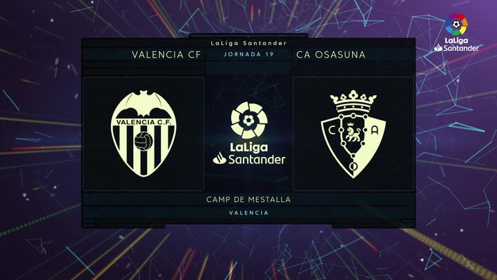 LaLiga Santander (Jornada 19): Valencia 1-1 Osasuna
