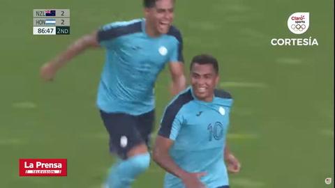 Rigo Rivas anota el gol del triunfo de Honduras sobre Nueva Zelanda