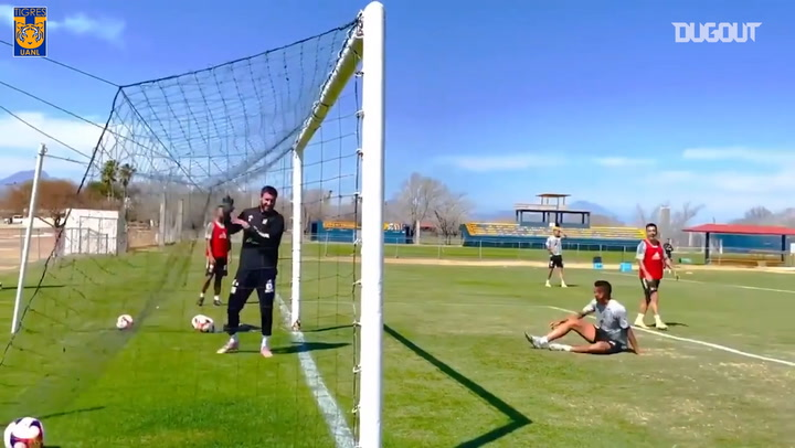 Gignac makes double save in training