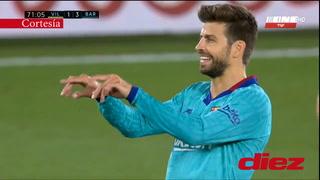 El polémico gesto de Piqué cuando el VAR le anuló el gol a Messi en el Villarreal-Barcelona