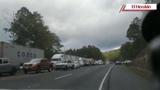 Enorme congestionamiento en carretera CA-5 por accidente en Zambrano