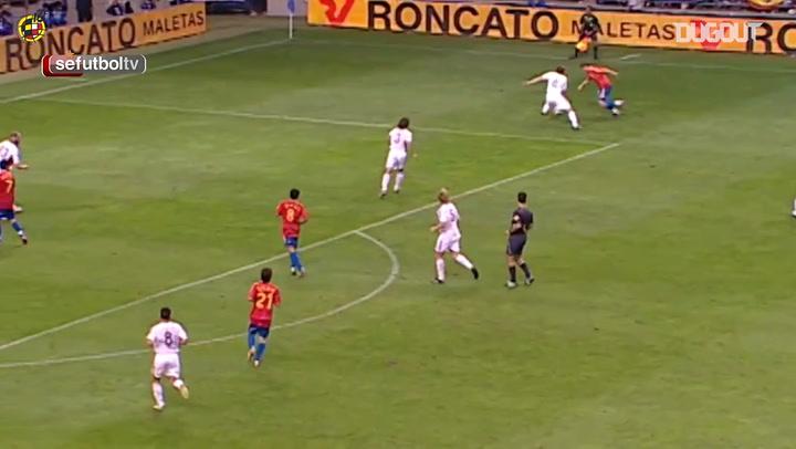 Xavi's goal for Spain following a great run by Joaquín