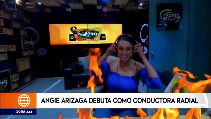 Así fue el primer día de Angie Arizaga como locutora en conocido programa radial