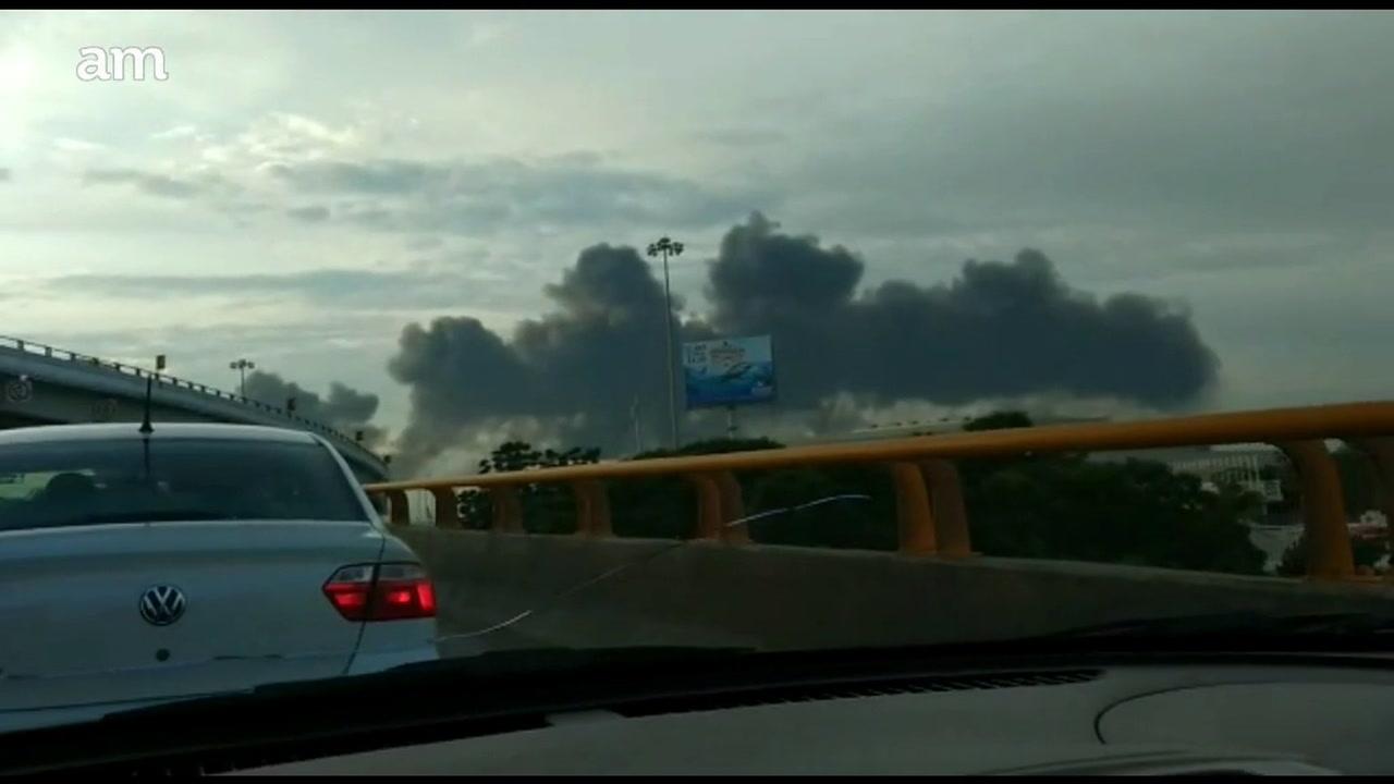 Así se vio la explosión de ducto desde Distribuidor Vial