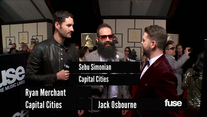 """Capital Cities on """"Safe & Sound"""" Video Nomination at GRAMMY Red Carpet"""