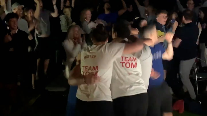 Tom Dean's friends and family celebrate him winning gold at Tokyo Olympics
