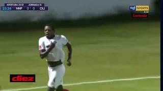 José García marca el 1-0 del Olimpia ante el Honduras Progreso