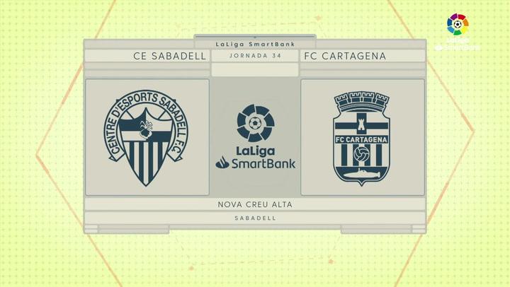LaLiga SmartBank (J34): Resumen y goles del Sabadell 1-1 Cartagena