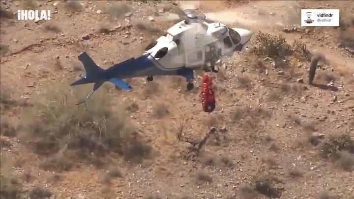 ¡De vértigo! Este estremecedor rescate en helicóptero de una excursionista pone los pelos de punta