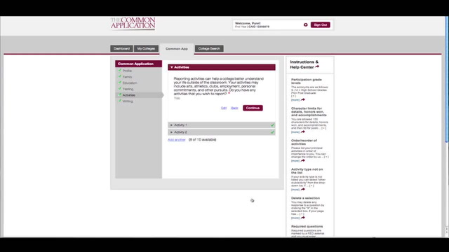 How to Complete the Common Application - Activity section