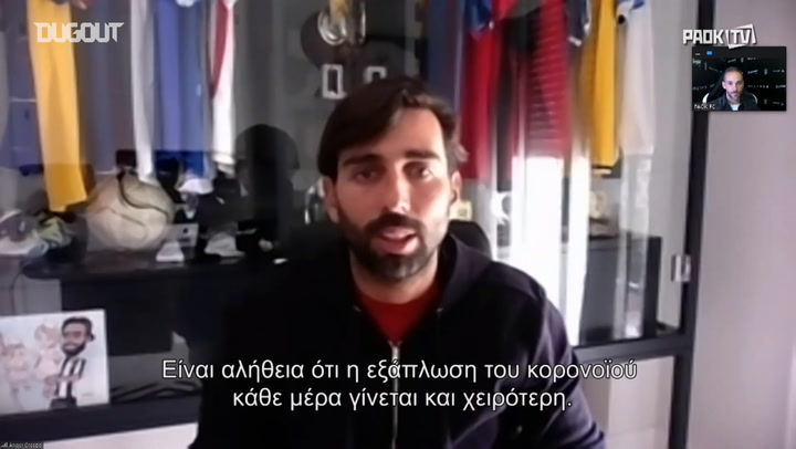 Social Distancing: PAOK defender Jose Crespo gives a video interview to PAOK TV