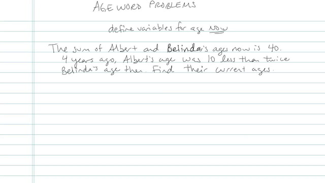 Age Word Problems - Problem 3