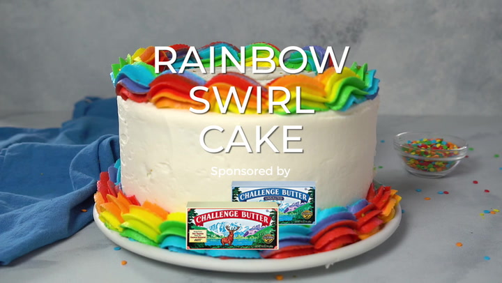 Rainbow Swirl Cake | Easy & Gorgeous Rainbow Birthday Cake!