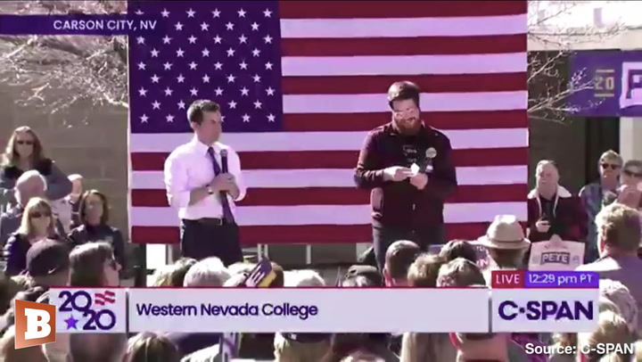 Pete Buttigieg Nods After Supporter Yells 'Take Down the Wall!'
