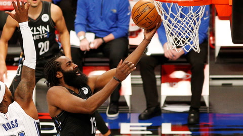 Nets win eighth straight game as James Harden fits in mix
