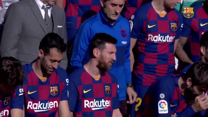 Foto conjunta de los equipos masculino y femenino del Barça