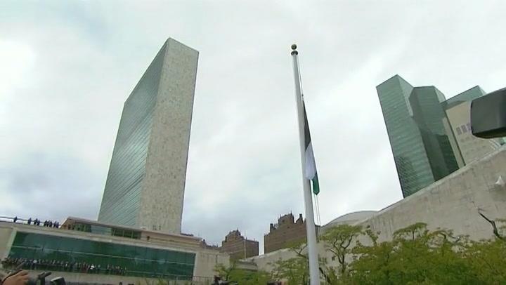 Vlag Palestina gehesen voor hoofdkwartier VN