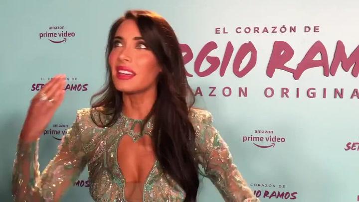 Pilar Rubio lució un espectacular vestido turquesa en la presentación del documental de Sergio Ramos en Amazon