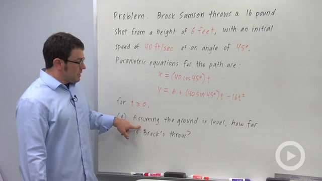 Parametric Equations and Motion - Problem 3