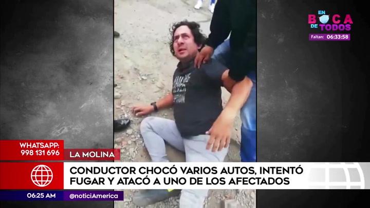 Borracho destroza auto que no lo dejó escapar tras chocar a otros dos vehículos | VIDEO