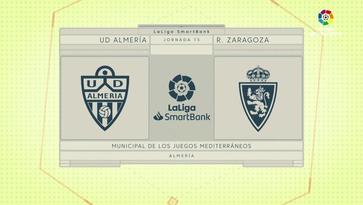 LaLiga SmartBank (J15): Resumen y goles del Almería 1-1 Zaragoza