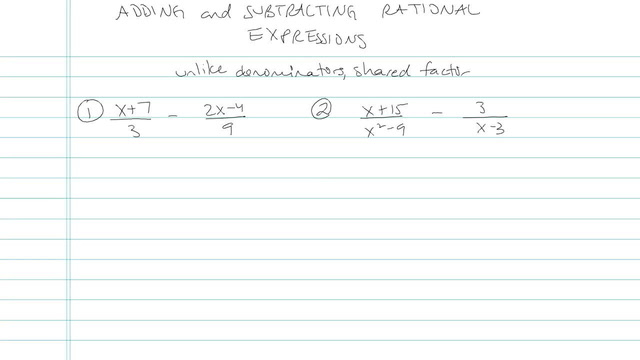 Adding and Subtracting Rational Expressions - Problem 6