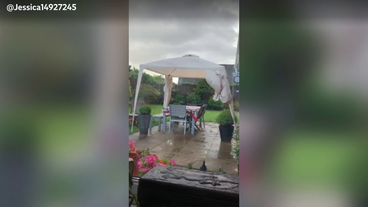Storm Evert batters tents and gazebos at campsite