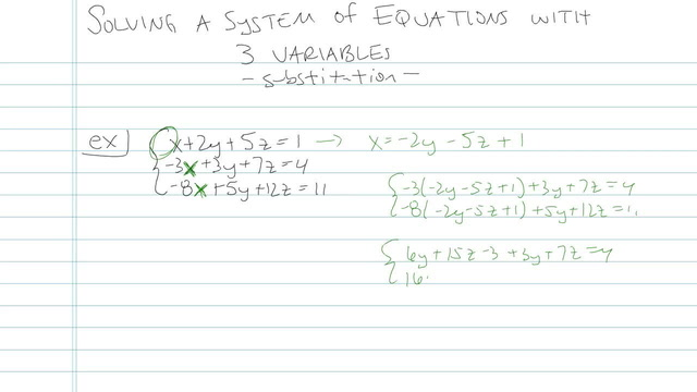 Solving a Linear System in Three Variables with a Solution - Problem 3