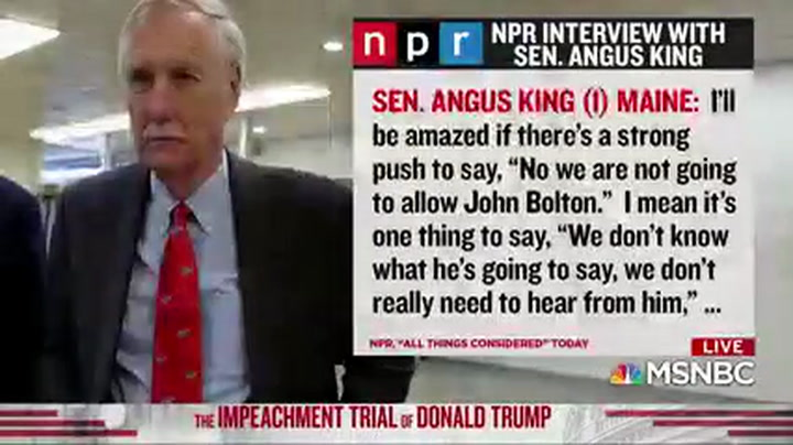 Sen. Angus King: 'Five or Ten' GOP Senators Willing to Vote for Bolton Testimony