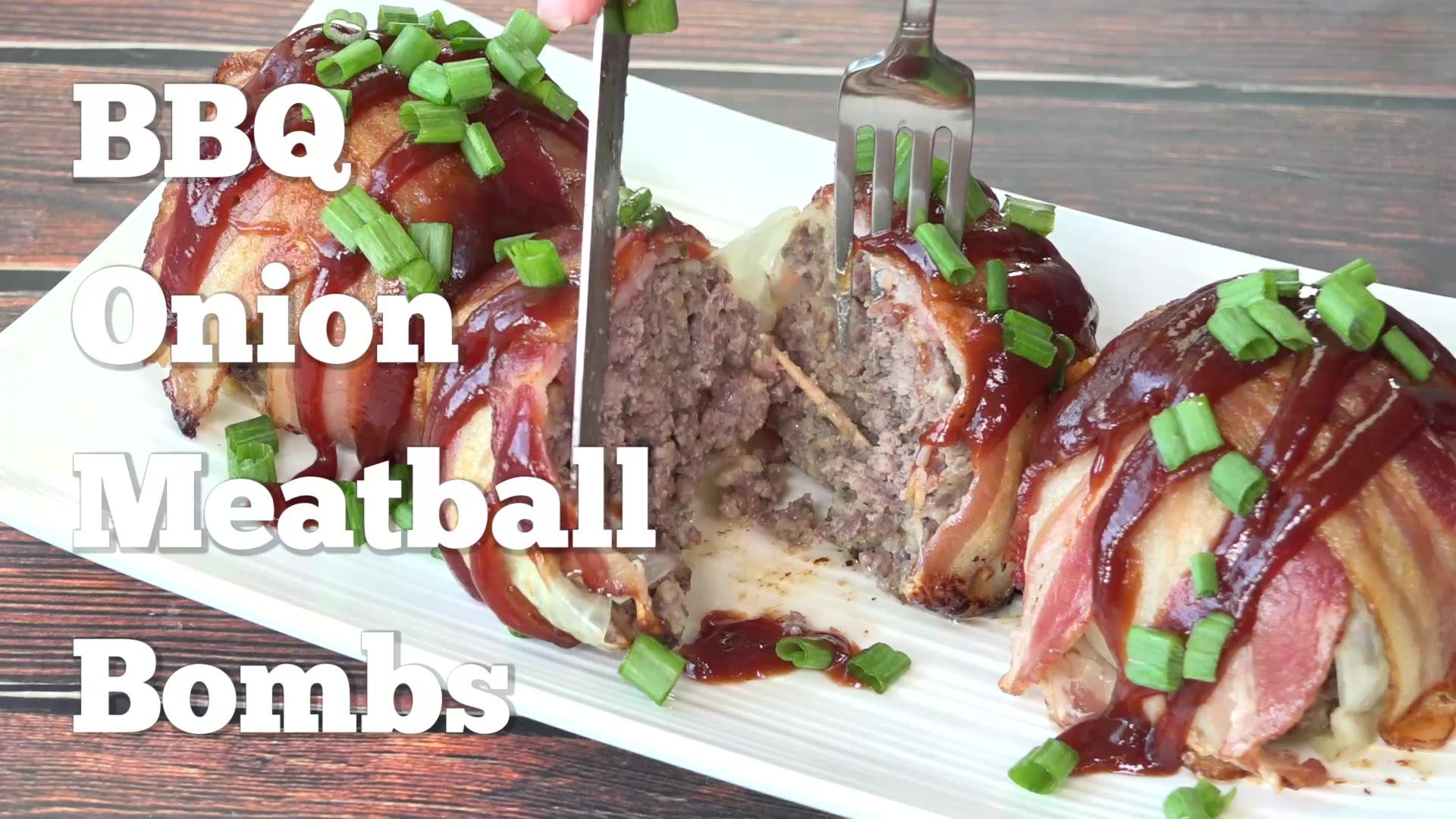 BBQ Onion Meatball Bombs