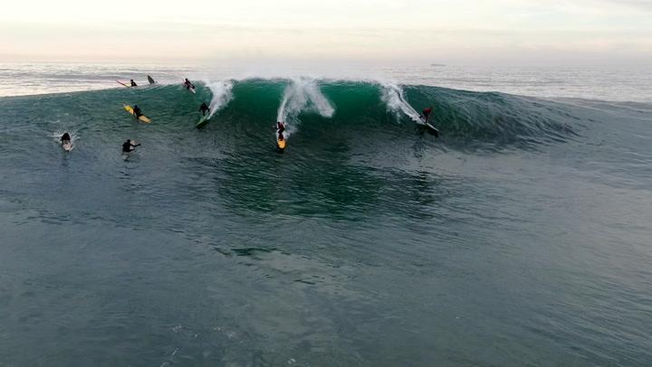 Hunter Murison surfing Mavericks