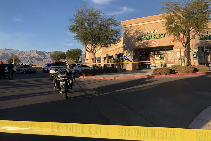 North Las Vegas police spokesman Aaron Patty gives an update. (Katelyn Newberg/ Las Vegas Review-Journal)
