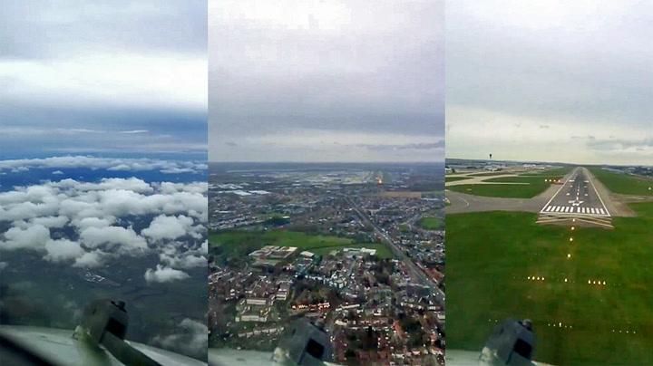 Pilot filmet sin egen landing