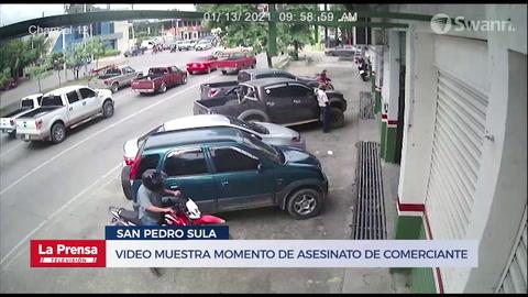 ¡Por la espalda! Video muestra momento de asesinato de comerciante en San Pedro Sula