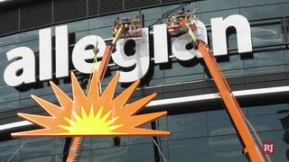 Allegiant Stadium nears signage finish, adds sun logo and 't' – Video